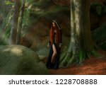 sorceress with red hair in a... | Shutterstock . vector #1228708888