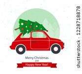 christmas and new year greeting ... | Shutterstock .eps vector #1228718878