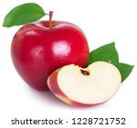 fresh red apple with leaf... | Shutterstock . vector #1228721752