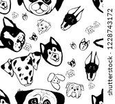 seamless pattern with dog... | Shutterstock .eps vector #1228743172