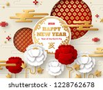 2019 chinese greeting card with ... | Shutterstock .eps vector #1228762678