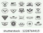 set of vintage butchery meat ...   Shutterstock .eps vector #1228764415