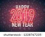 happy new year with neon sign... | Shutterstock .eps vector #1228767235