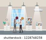 business couple talking in...   Shutterstock .eps vector #1228768258