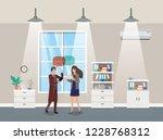 business couple talking in...   Shutterstock .eps vector #1228768312