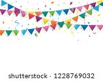 colorful bunting flags with... | Shutterstock .eps vector #1228769032