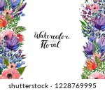 watercolor floral background.... | Shutterstock . vector #1228769995