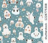 cute polar bear seamless...   Shutterstock .eps vector #1228775308