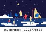 winter park   flat design style ... | Shutterstock .eps vector #1228775638
