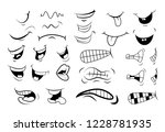 outline cartoon mouth set .... | Shutterstock .eps vector #1228781935