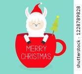 merry christmas. llama alpaca... | Shutterstock .eps vector #1228789828