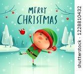 merry christmas  little elf on... | Shutterstock .eps vector #1228810432