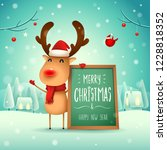 merry christmas  the red nosed... | Shutterstock .eps vector #1228818352