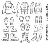 hand drawn set of winter... | Shutterstock .eps vector #1228831252