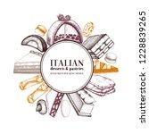 italian desserts frame design.... | Shutterstock .eps vector #1228839265