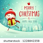 merry christmas  cheerful... | Shutterstock .eps vector #1228842358