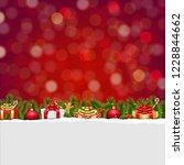christmas postcard with bokeh... | Shutterstock .eps vector #1228844662