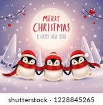 cute little penguins under the... | Shutterstock .eps vector #1228845265