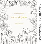 wedding invitation with graphic ... | Shutterstock . vector #1228857412
