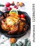 homemade cornish hen roast ... | Shutterstock . vector #1228863595