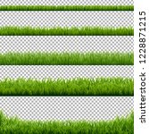 big set green grass borders... | Shutterstock . vector #1228871215