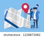 characters of family with a map ... | Shutterstock .eps vector #1228872082