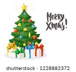 christmas card with hand... | Shutterstock .eps vector #1228882372
