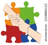 hand holding hand on the... | Shutterstock .eps vector #1228886122