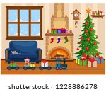 a toy railway with a locomotive. | Shutterstock .eps vector #1228886278