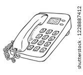 vector sketch office telephone. ... | Shutterstock .eps vector #1228887412