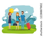 young people with suitcases in... | Shutterstock .eps vector #1228887802