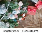 christmas  new year wooden... | Shutterstock . vector #1228888195