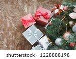 christmas  new year wooden... | Shutterstock . vector #1228888198