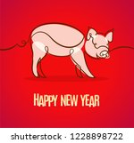 new year banner with pig | Shutterstock .eps vector #1228898722