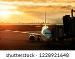 passenger plane approach to... | Shutterstock . vector #1228921648