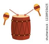bongo and maracas tropical...   Shutterstock .eps vector #1228923625