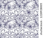 flower doodles seamless pattern.... | Shutterstock .eps vector #1228928005
