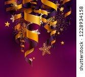 golden ribbons on violet... | Shutterstock .eps vector #1228934158