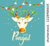 happy pongal. decorated cow and ... | Shutterstock .eps vector #1228988605