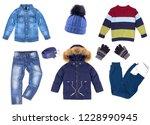 collage of children's winter... | Shutterstock . vector #1228990945
