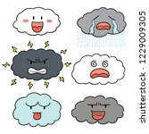 vector set of cloud cartoon | Shutterstock .eps vector #1229009305