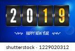 happy new year 2019. flip... | Shutterstock .eps vector #1229020312