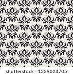 vector floral damask seamless... | Shutterstock .eps vector #1229023705