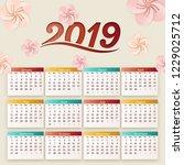 2019 calendar design with...   Shutterstock .eps vector #1229025712