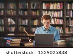 young male student study in the ... | Shutterstock . vector #1229025838