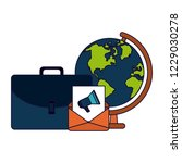 briefcase and email with world... | Shutterstock .eps vector #1229030278