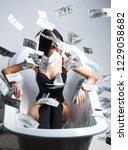 sexy female and dollar bills....   Shutterstock . vector #1229058682