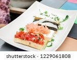 a plate with healthy food  four ... | Shutterstock . vector #1229061808