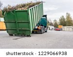 truck loading container with... | Shutterstock . vector #1229066938