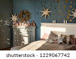 new year's interior. bedroom... | Shutterstock . vector #1229067742